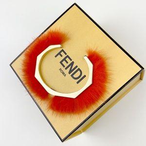 FENDI Gold Fur Cuff Bracelet